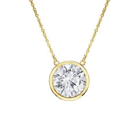 Auriya 3/4ctw Bezel Set Solitaire Diamond Necklace 14k Gold