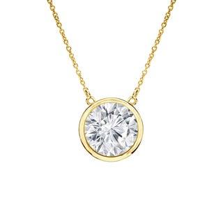 Auriya 14k Gold 3/4ct TDW Round Diamond Bezel Solitaire Necklace