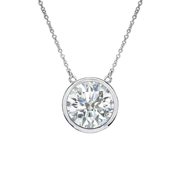 Auriya 14k Gold 1ct TDW Round Bezel Set Solitaire Diamond Necklace