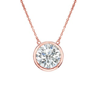 Auriya 14k Gold 1ct TDW Round Cut Diamond Solitaire Bezel Necklace (I-J, SI2-SI3)