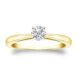 Auriya 18k Gold 1/4ct TDW Round Diamond Solitaire Engagement Ring (I-J, SI1-SI2)