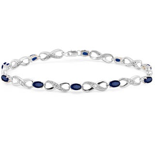 Sterling Silver 2 1/4ct TGW Blue Sapphire and Diamond Accent Infinity Link Tennis Bracelet (I-J, I1-I2)
