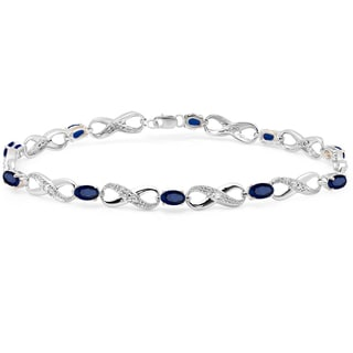 Elora Sterling Silver 2 1/4ct TGW Blue Sapphire and Diamond Accent Infinity Link Tennis Bracelet (I-J, I1-