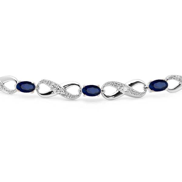 Ice Gems Sterling Silver Genuine or Created Gemstone Infinity Tennis Bracelet