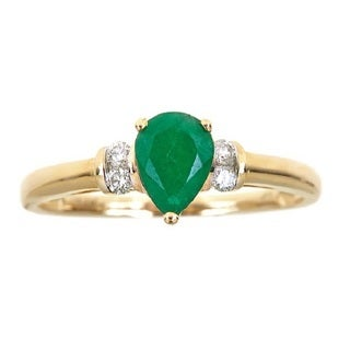 Anika and August 14k Yellow Gold Emerald and Diamond Accent Ring