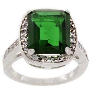 Nexte Jewelry Silvertone Brass Radiant-cut Green Cubic Zirconia Ring