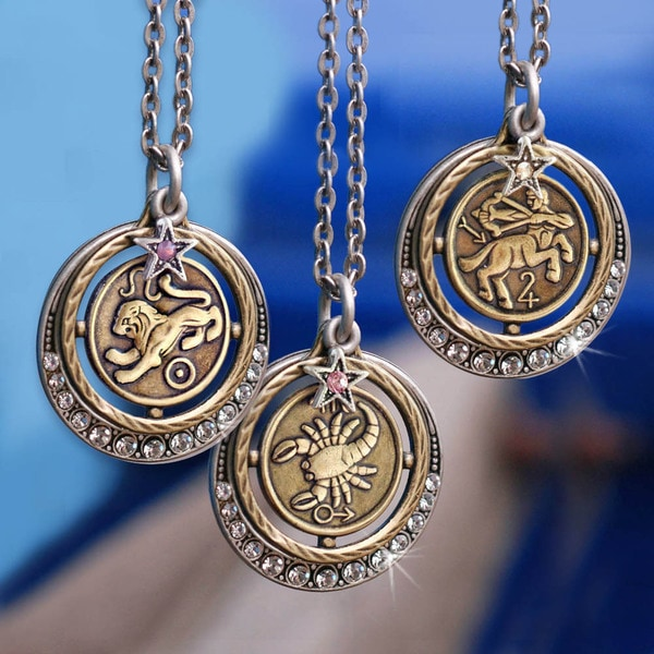Leo Zodiac Sign Traits Dog Tag Necklace Pendant Stainless: Sweet Romance Pewter Zodiac Astrology Pendant Necklace