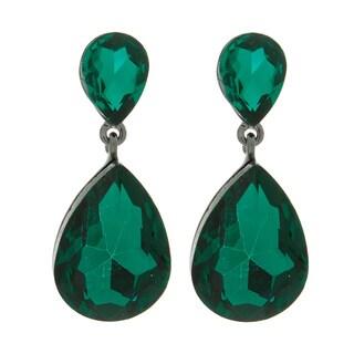 NEXTE Jewelry Brass Double Pear Crystal Dangle Earrings