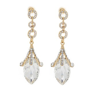 Nexte Jewelry Brass Extra Large Marquise Rhinestone Dangle Earrings