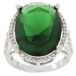 Nexte Jewelry Silvertone Brass Oval Green Cubic Zirconia Ring