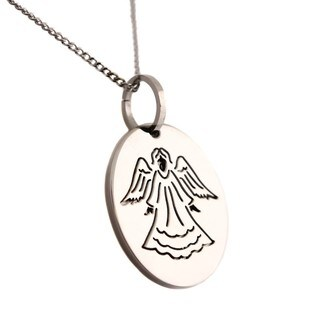 Stainless Steel Angel Prayer Bereavement 2-piece Oval Pendant Necklace