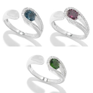 Sterling Silver Gemstone and White Zircon Bypass Band Ring