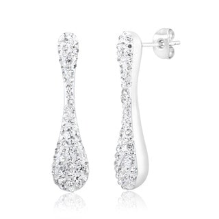 Rhodium-Plated Crystal Long Tear Drop Earrings