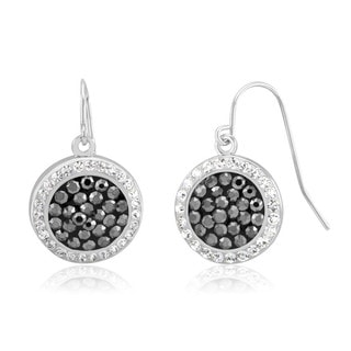 Rhodium-Plated Black and White Crystal Dangling Disc Earrings
