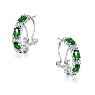 Collette Z Sterling Silver Green Cubic Zirconia Petite Hoop Earrings