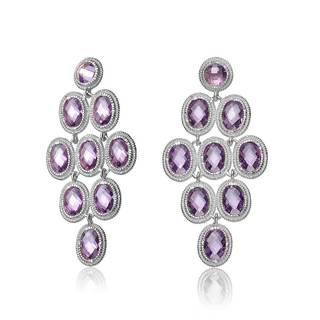 Collette Z Rhodium Overlay Purple Cubic Zirconia Chandelier Earrings