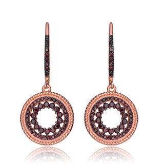 Collette Z Rose Sterling Silver Black Cubic Zirconia Earrings