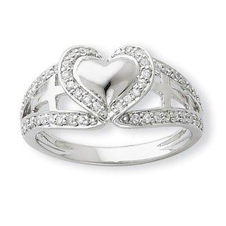 Versil Sterling Silver Cubic Zirconia Polished Pure Heart Cross Ring