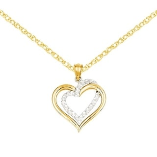 Versil 14k Two-tone Gold Diamond Cut Heart Pendant