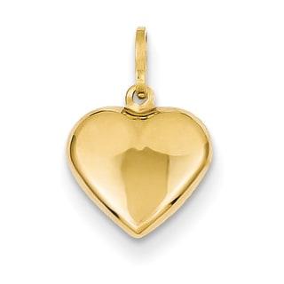 Versil 14k Yellow Gold Lovely Puffed Heart Charm