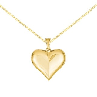 Versil 14k Yellow Gold Elegant Puffed Heart Pendant