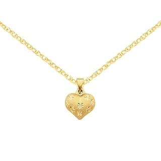 Versil 14k Yellow Gold Satin and Diamond Cut Puffed Heart Pendant