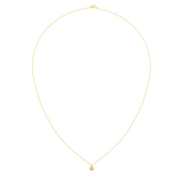 14k Satin /& Diamond Cut Puffed Heart Pendant 14 kt Yellow Gold