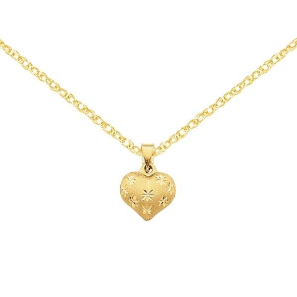 Versil 14k yellow gold satin and diamond cut puffed heart pendant versil 14k yellow gold satin and diamond cut puffed heart pendant aloadofball Gallery