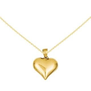 Versil 14k Yellow Gold Puffed Timeless Heart Pendant
