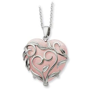 Versil Sterling Silver Rose Quartz Generous Heart Necklace