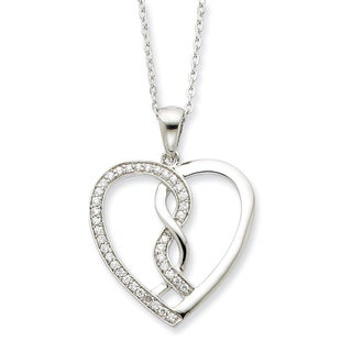Versil Sterling Silver Cubic Zirconia Hearts Joined Together 18-inch Necklace