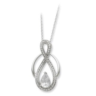 Versil Sterling Silver Cubic Zirconia Teardrop Stone Necklace