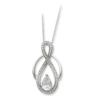 Versil Sterling Silver Cubic Zirconia Teardrop Stone Necklace