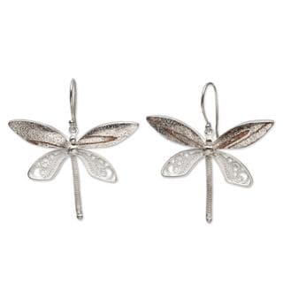 Handcrafted Sterling Silver 'Poised Dragonflies' Earrings (Peru)