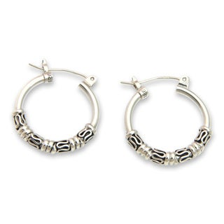 Handcrafted Sterling Silver 'Festival Moon' Earrings (Indonesia)