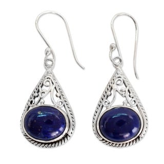 Sterling Silver 'Royal Grandeur' Lapis Lazuli Earrings (India)