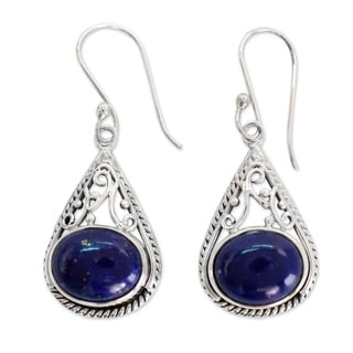 Handmade Sterling Silver 'Royal Grandeur' Lapis Lazuli Earrings (India)