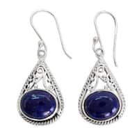Handmade Sterling Silver 'Royal Grandeur' Lapis Lazuli Earrings (India)