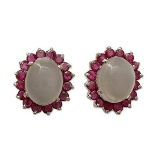 Sterling Silver 'Love and Devotion' Ruby Moonstone Earrings (India)