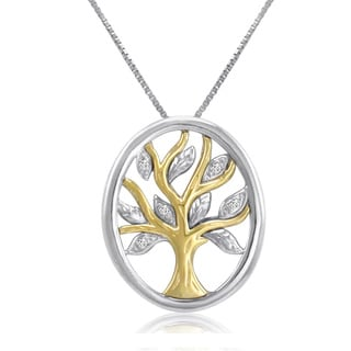 Sterling Silver and 14K Gold Diamond Tree of life Pendant-Necklace ( IGI Certified)