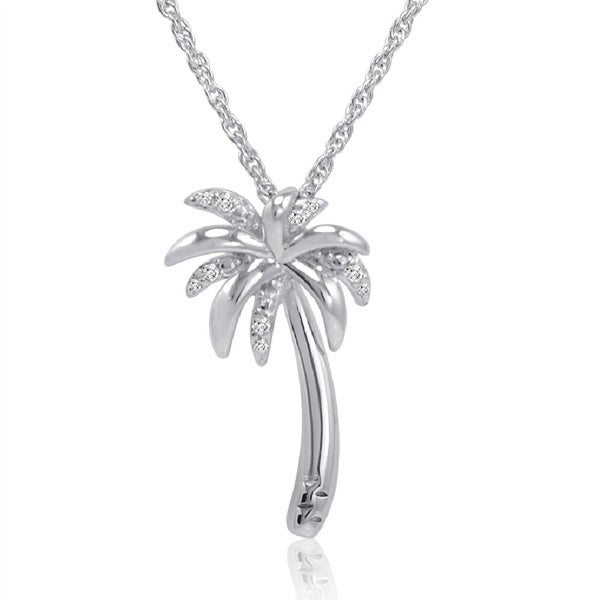 Amanda Rose Collection Diamond Palm Tree Pendant-Necklace in Sterling Silver
