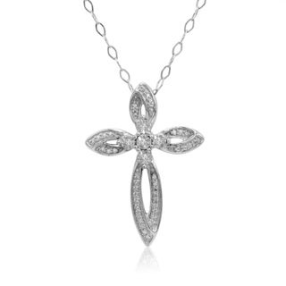 Amanda Rose Collection IGI Certified Diamond Cross Pendant in Sterling Silver