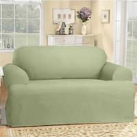 Sure Fit Cotton Classic T-cushion Sofa Slipcover in Natural (As Is Item)