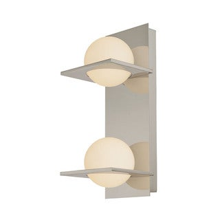 Alico Orbit Matte Satin Nickel and White Opal Glass 2-light Vanity
