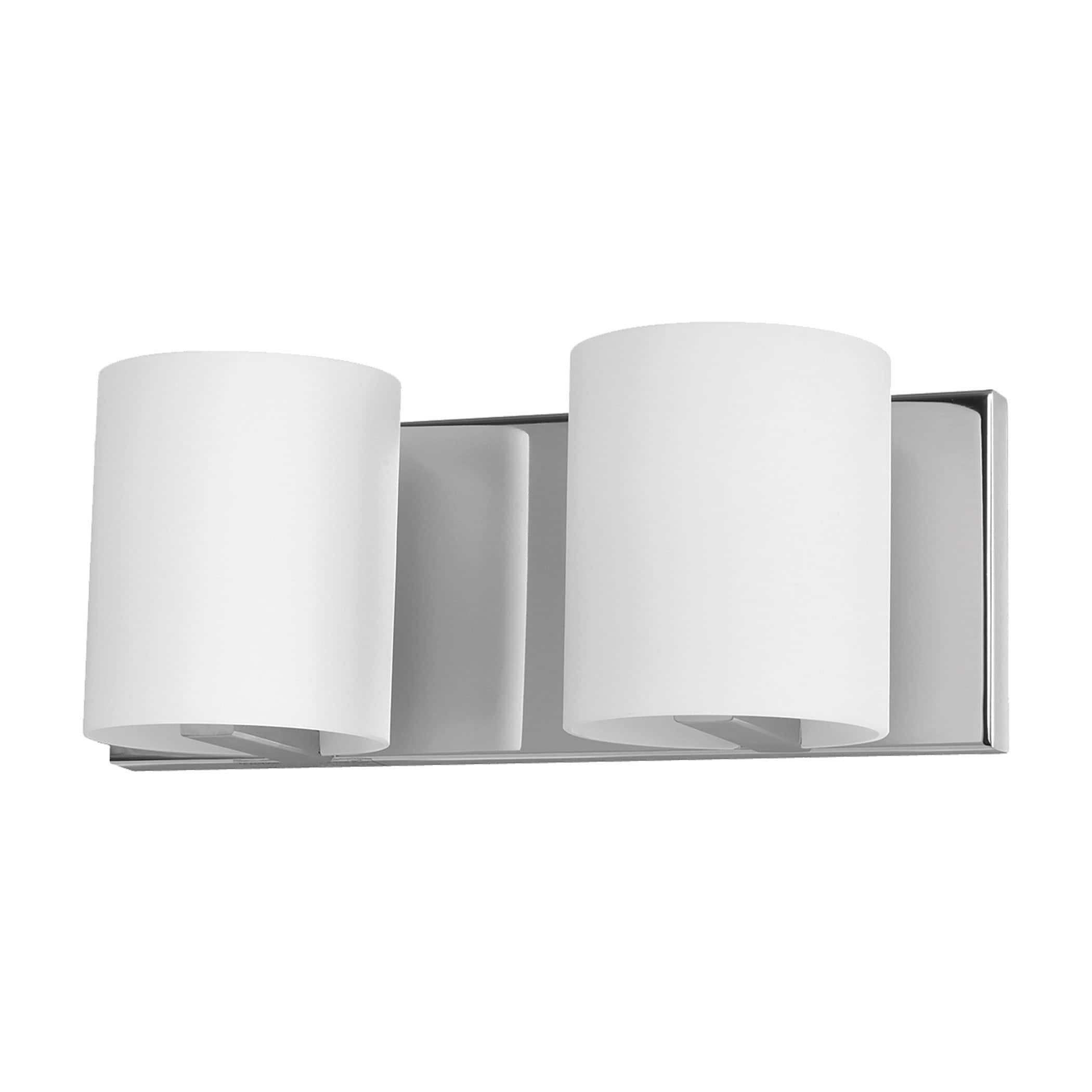 ALICO Enterprise Chrome and White Opal Glass 2-light Vani...