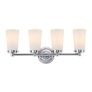 Alico Madison Chrome and White Opal Glass 4-light Vanity