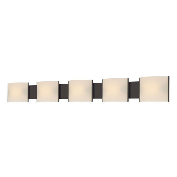 Alico Pannelli Oil Rubbed Bronze And Hand Molded White Opal Glass 5 Light Van