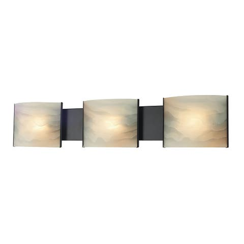 Alico Pannelli Oil Rubbed Bronze and Hand-Molded Honey Alabaster Glass 3-light Vanity