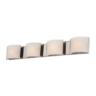 Alico Pandora Satin Nickel and White Opal Glass 4-light Vanity