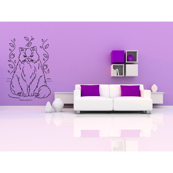 Himalayan Cat Breed in flower garden Wall Art Sticker Decal